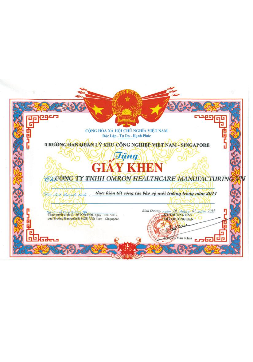 OHV.Enviroment Award2 Chứng chỉ chất lượng